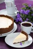 Torta di formaggio e caffè Fotografie Stock