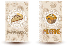 Torta di formaggio e muffin Illustrazione disegnata a mano Opuscolo promozionale con le pasticcerie Cuocia il negozio Perfezioni  Fotografia Stock