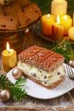 Torta di formaggio tradizionale di natale con la guarnizione del cioccolato fotografia stock libera da diritti
