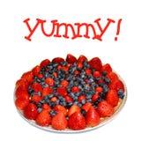 Torta di frutta rossa, bianca e blu immagini stock