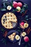 Torta di mele americana di tradizione con le mele, il mirtillo e la cannella fotografia stock