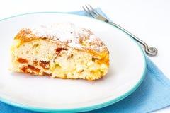 Torta di mele con le albicocche secche su un fondo bianco Fotografia Stock Libera da Diritti