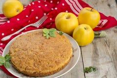 Torta di mele e mele casalinghe su una tavola di legno immagine stock libera da diritti