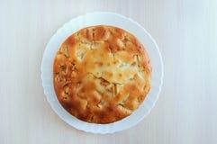 Torta di mele di recente al forno su un piatto bianco fotografia stock libera da diritti