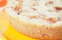 Torta di mele sul piatto arancio immagini stock libere da diritti
