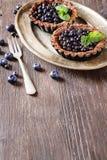 Torta di mirtillo casalinga del cioccolato con il legno di buio delle foglie di menta Fotografie Stock