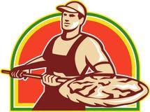 Torta di pizza di Holding Peel With del panettiere retro Fotografia Stock Libera da Diritti