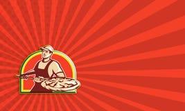 Torta di pizza di Holding Peel With del panettiere retro Immagini Stock Libere da Diritti