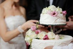 Torta di taglio dello sposo e della sposa immagini stock libere da diritti