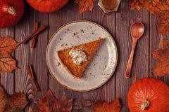 Torta di zucca casalinga per il ringraziamento Fotografie Stock