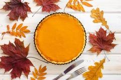 Torta di zucca casalinga sulla tavola di legno bianca con le foglie di autunno immagine stock