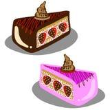 Torta disegnata a mano della fragola del cioccolato Fotografia Stock Libera da Diritti