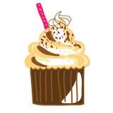 Torta disegnata a mano della tazza della crema del cioccolato Fotografia Stock