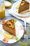 Torta do lentilha-cogumelo do vegetariano com mostarda e limão Foto de Stock Royalty Free
