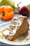 Torta do lentilha-cogumelo do vegetariano com mostarda e limão imagens de stock royalty free