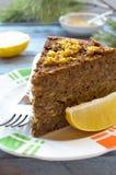 Torta do lentilha-cogumelo do vegetariano com mostarda e limão Fotos de Stock