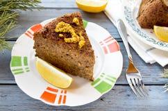 Torta do lentilha-cogumelo do vegetariano com mostarda e limão Foto de Stock
