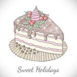 Torta do Natal no estilo do esboço ilustração stock