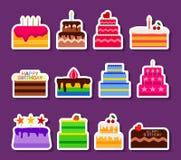 A torta do vetor do casamento ou do aniversário endurece os ícones das etiquetas ajustados Padaria da sobremesa dos doces do bolo Fotos de Stock Royalty Free