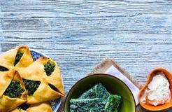 Torta dos espinafres com queijo da ricota Imagem de Stock
