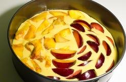 Torta dos pêssegos e das ameixas Fotos de Stock Royalty Free