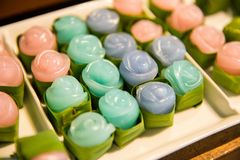 Torta dulce clasificada Kanom Chan de la capa tailandesa del postre en hoja del plátano foto de archivo libre de regalías
