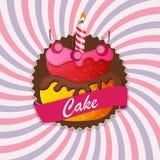 Torta dulce con Berry Menu Background Vector Illustration Fotografía de archivo