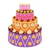 Torta dulce en estilo plano Foto de archivo libre de regalías