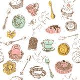 Torta dulce. modelo inconsútil Fotos de archivo