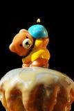 Torta e candela di compleanno Fotografia Stock Libera da Diritti