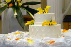 Torta e candele Immagini Stock