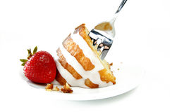 Torta e fragole Fotografia Stock