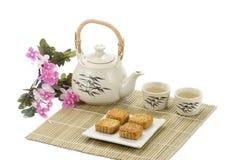 Torta e tè del cinese fotografie stock
