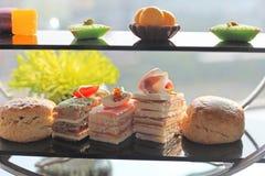 Torta e tè di pomeriggio Fotografia Stock