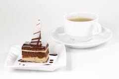 Torta e tazza di caffè di cioccolato Immagine Stock Libera da Diritti