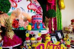 Torta 7 el cumpleaños del Victoriaen julio imágenes de archivo libres de regalías