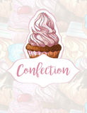 Torta en un fondo de dulces Diseño para los productos de la confitería handmade Ilustración del Vector