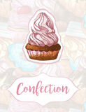 Torta en un fondo de dulces Diseño para los productos de la confitería handmade Marcadores dibujados mano Ilustración del Vector