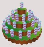 Torta enorme livellata della festa di compleanno sei   illustrazione vettoriale