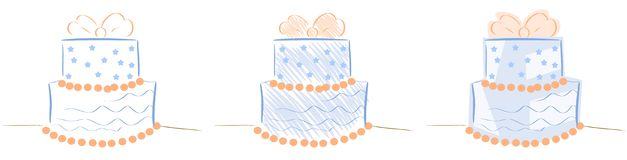 Torta estilizada aislada con la cinta y las estrellas Foto de archivo