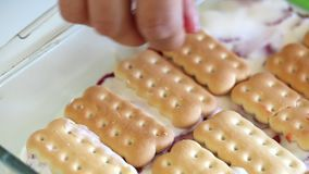 Torta fácil y apacible de las galletas, de la crema agria y de la fresa metrajes