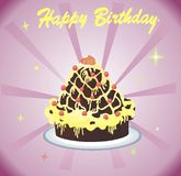Torta felice Immagini Stock