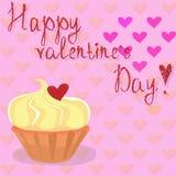 Torta feliz de día de San Valentín ilustración del vector