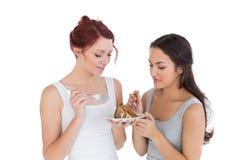 Torta femenina joven hermosa de los pasteles de los amigos junto Foto de archivo libre de regalías