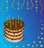 Torta festiva com velas ardentes. Vetor. Imagens de Stock
