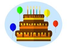 Torta festiva con la vela Imagen de archivo libre de regalías