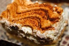 Torta fresca del tiramisu - torta del canela imagenes de archivo