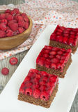 Torta fresca do verão com framboesas Foto de Stock Royalty Free