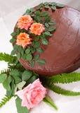 Torta gialla con cioccolato Ganache e le rose Fotografia Stock Libera da Diritti