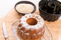 torta Gluten-libre con la harina de arroz y el kaymak Fotografía de archivo libre de regalías